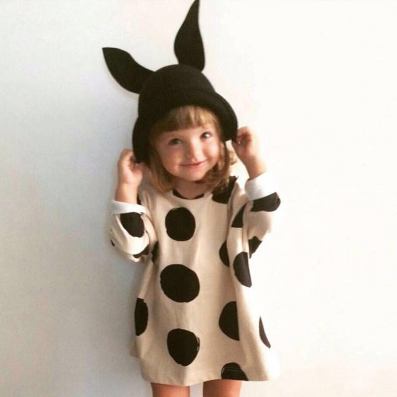 Girls dress Dot printed cute toddlers girls dresses long sleeve dresses girls clothes birthday&party kids clothes costumes toddlers girls dots deer pleated cotton dress long sleeve dresses
