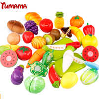 Tumama 29 pcs/Set Plastic Fruit Vegetable Cutting Kids Kitchen Food Toys Pretend Play Educational Toy Cook Cosplay Kitchen Toys