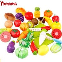 Tumama 29 pz/set di Plastica Frutta Verdura di Taglio Bambini Alimento Della Cucina Finta Play Giocattolo Educativo Cuoco Cosplay Giocattoli Cucina
