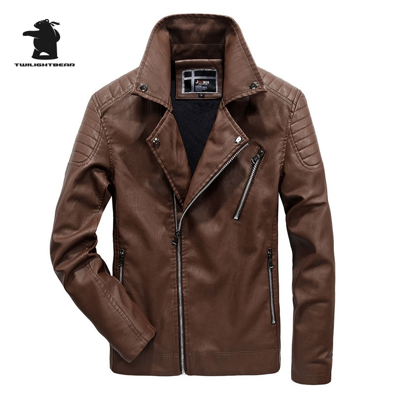 New Mens Fur Leather Jacket Winter Fashion High Quality PU Casual Biker Jacket Men Bomber Jacket Plus Size L~6XL C8FQL1782