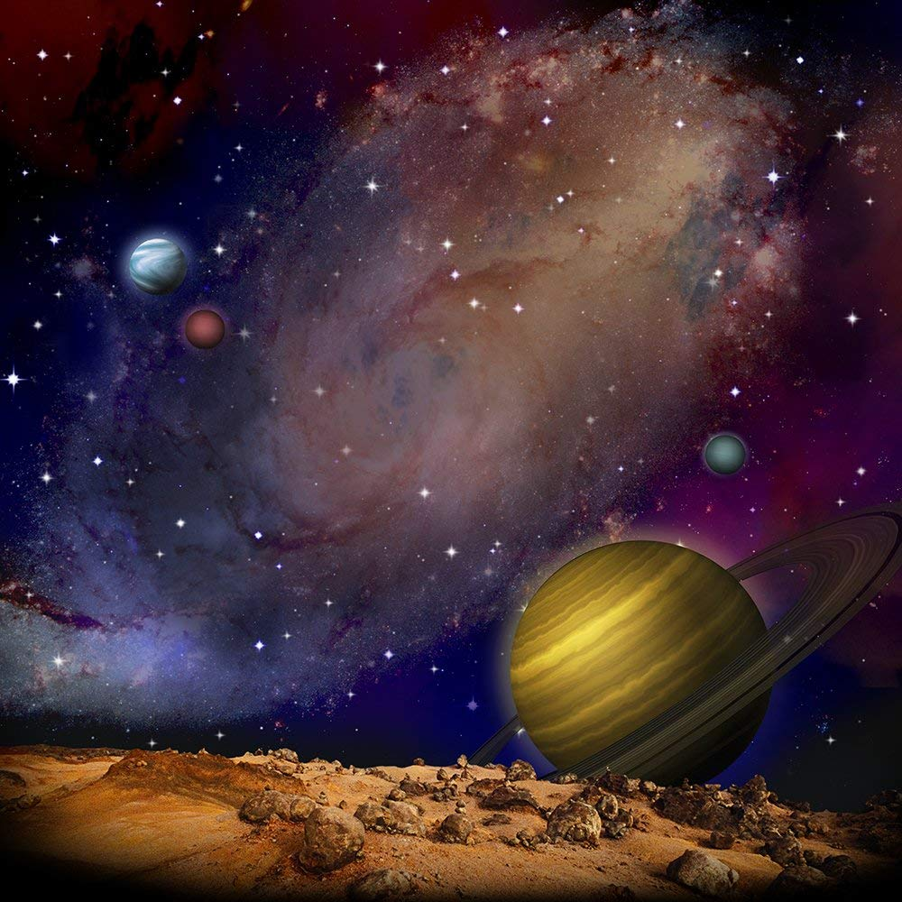 moon stars planet galaxy space background High quality Computer print party backdrops Background     - title=