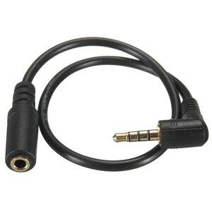 Mayitr 1pc 25cm 90 graus direito angular cabo de áudio 3.5mm 4 pólo macho para fêmea cabo áudio steteo adaptador para fone de ouvido jack