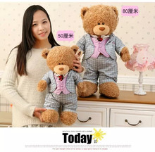 big size plush blue check coat teddy bear toy new creative bear doll gift about 80cm