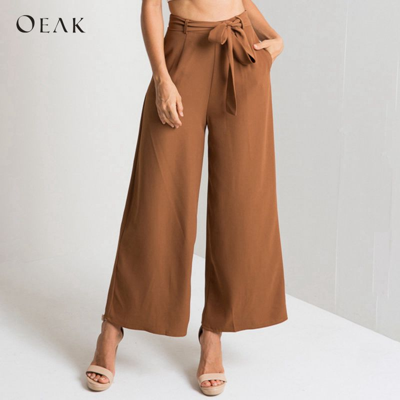 OEAK Elegant Office Lady Belted   Wide     Leg     Pants   Women Casual High Waist Tie Front Ankle-Length   Pants   2018 Female Trousers Palazzo