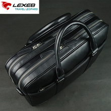 LEXEB Men's Black Leather Briefcase For 15 Inches Laptop Office Bag For Men Lawyer Handbag Double Zips Open Two Main Bags Hot