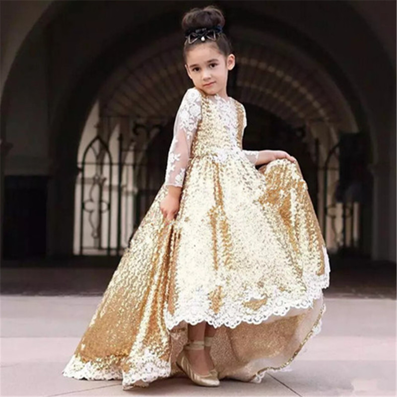 Golden Retro Flower Girl Dresses For Wedding Custom Made New Arrival Hot Pageant Dress Sleeveless And Appliques Satin
