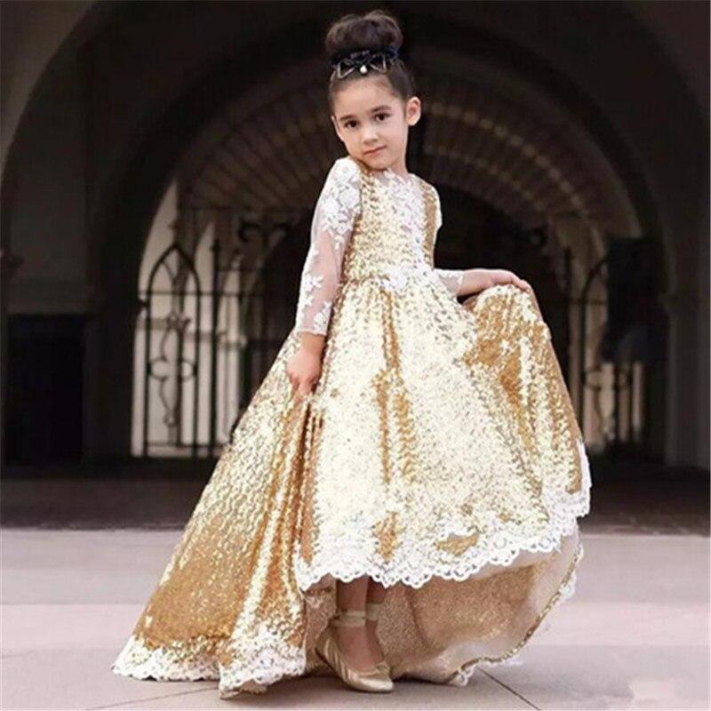 Golden Retro Flower Girl Dresses For Wedding Custom Made New Arrival Hot Pageant Dress Sleeveless and Appliques Satin