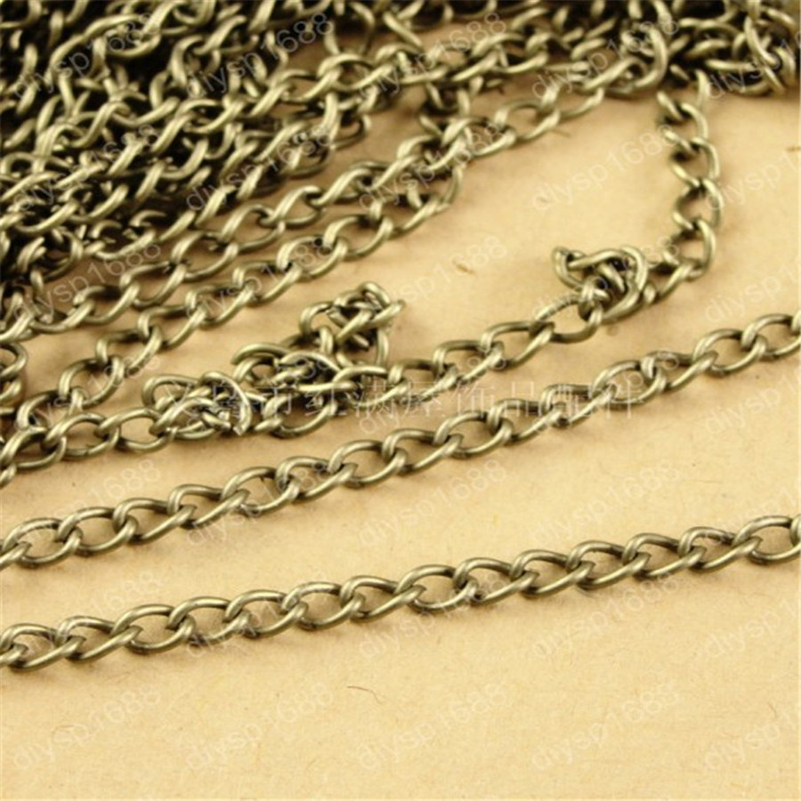 (100 meter/lot) 4*5MM antique bronze Color O shape chain long link jewelry accessary chains findings hm631