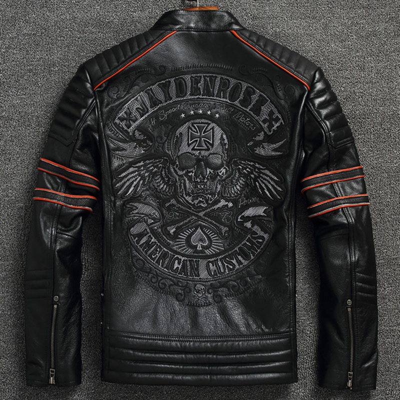 South American Flight Mens Genuine Leather Jacket Coats Oversized 4XL Mans Skulls Real Leather Coats Automotive Jackets Men A602