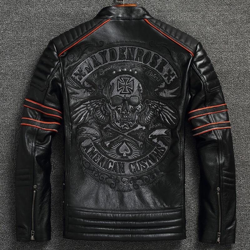South American Flight Mens Genuine Leather Jacket Coats Oversized 4XL Mans Skulls Real Leather Coats Automotive Jackets Men A602