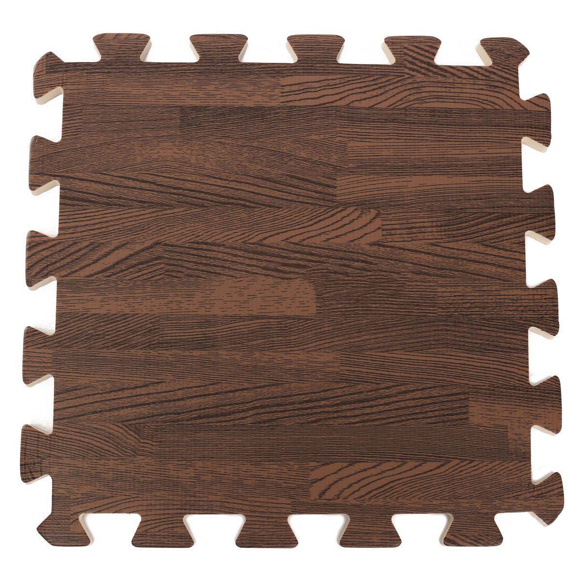 36 Pcs Interlocking EVA Foam Floor Tiles Light Wood Grain Colour Gym Exercise