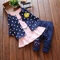 2016 осень детская одежда девочек костюм-тройку свитер Корейской версии мультфильма хлопка с длинными рукавами кардиган детски