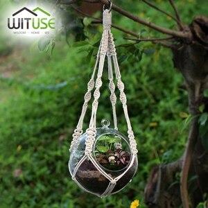 WITUSE Vintage Plant Hanger Flowerpot Holder Basket With Hoop Macrame Hanging Rope 4Legs Hook Suit for Decorating Balcony Garden(China)