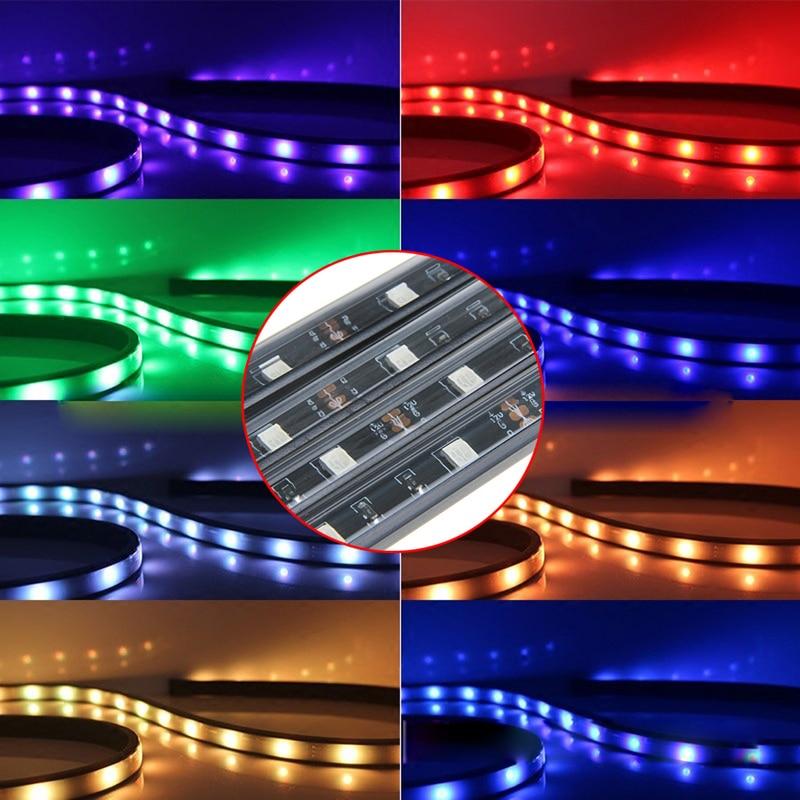 Auto Lamp RGB LED Strip Under Car Tube Underglow Underbody Glow System Neon Light Remote 2017 car styling 7 color led strip under car tube underglow underbody system neon lights kit ma8 levert dropship