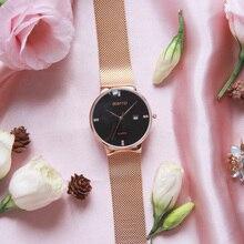 Luxury GIMTO Fashion Ladies Watches Rose Gold Rhinestone