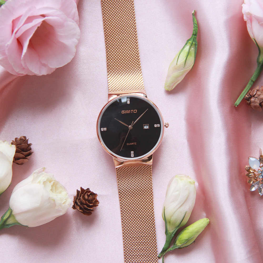 9173a434f ... Luxury GIMTO Fashion Ladies Watches Rose Gold Women Watches Elegant  Minimalism Rhinestone Casual Black Female Waterproof ...
