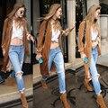 Mulheres Completa Venda Trench Coat Para As Mulheres Europa E 2016 Novo de Veludo Inverno Pescoço de Mangas Compridas Casaco Cardigan Moda