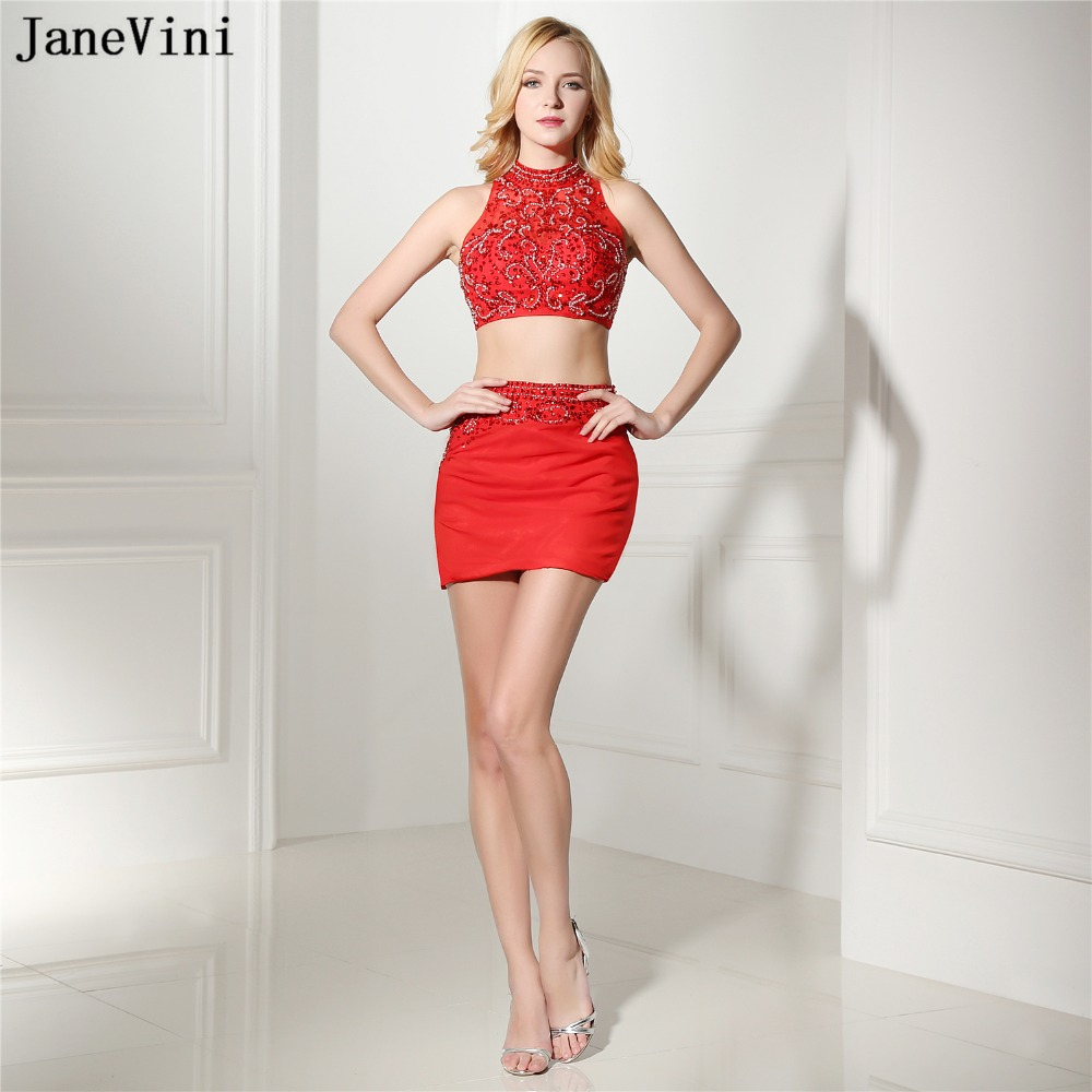 JaneVini <font><b>Sexy</b></font> 2 Pieces <font><b>Homecoming</b></font> <font><b>Dresses</b></font> for Girls Red Beaded Party Gowns <font><b>Short</b></font> Tight Fitted <font><b>Crystal</b></font> Special Occasion <font><b>Dresses</b></font> image