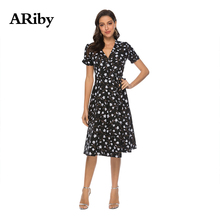 ARiby Women Dress V-collar Printed 2019 Summer New Fashion Bohemia Beach Chiffon A-Line Empire Vestidos