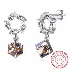 4f563c80a8bc LEKANI plata esterlina 925 austriaco flor cuadrado cristales de Swarovski  pendientes para la joyería fina nupcial
