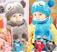 2013 New Owl Design Children S Hat Scarf Two Pieces Kids Knitted Cap For Winter Five