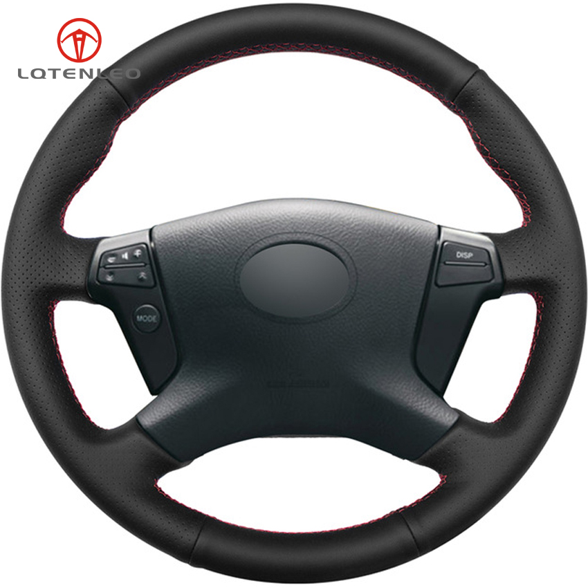 LQTENLEO Black Genuine Leather DIY Hand stitched Car Steering Wheel Cover for Toyota Avensis 2003 2007
