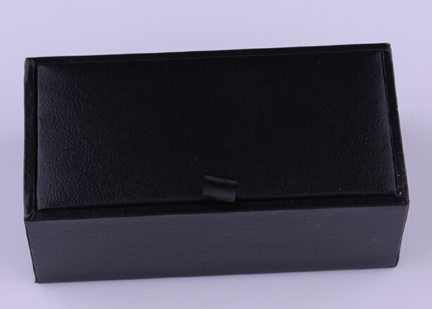 Wholesale 100 pcs/lot Black Cufflink Box Cufflink Gift Case Holder Jewelry Packaging Boxes Organizer Black Cufflink