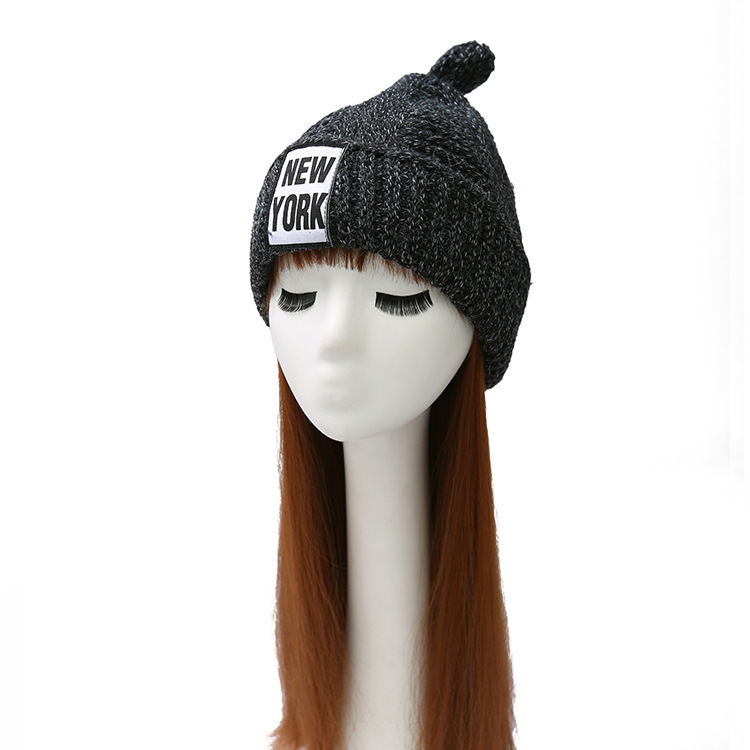 Christmas Women Ladies New York Knitted Hats Winter Thick Warm Bonnet caps  Woollen NY Skullies Casquette Pom Pom Beanie-in Skullies   Beanies from  Apparel ... 325e0f80ac