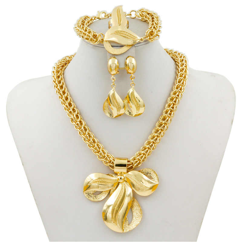 Liffly Bridal Dubai Gold Jewelry Sets Women Fashion Big Pendant Necklace Earrings Ring Bracelet African Wedding Jewelry Set