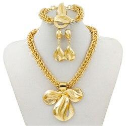 Liffly Свадебные ювелирные изделия из золота из Дубаи наборы для женщин Мода Большая подвеска ожерелье серьги кольцо браслет Африканские свад...