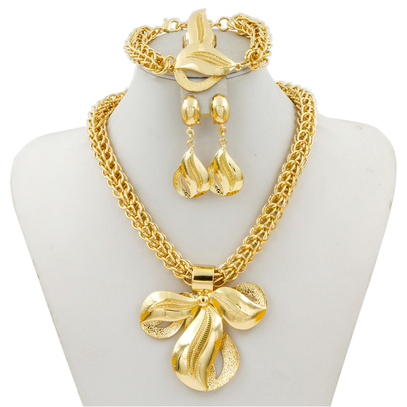 Liffly New Fashion Women Gold Jewelry Crystal Flower Pendant Big Necklace Earrings Ring Bracelet African Wedding Jewelry Sets