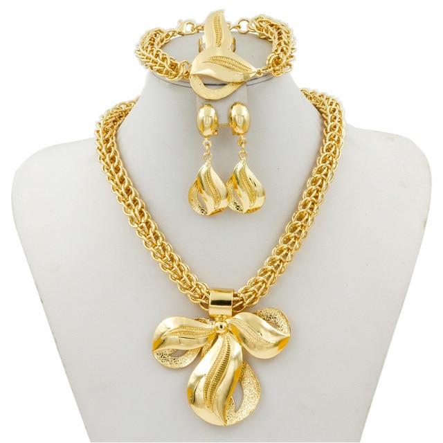 Liffly כלה דובאי זהב תכשיטי סטי נשים אופנה גדול תליון שרשרת עגילי טבעת צמיד אפריקאי כלה תכשיטי סט