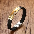 Unique Mens Jewelry Two-Tone Stainless Steel Muslim Allah Leather Bracelet Bangle Clasp 8 Inch