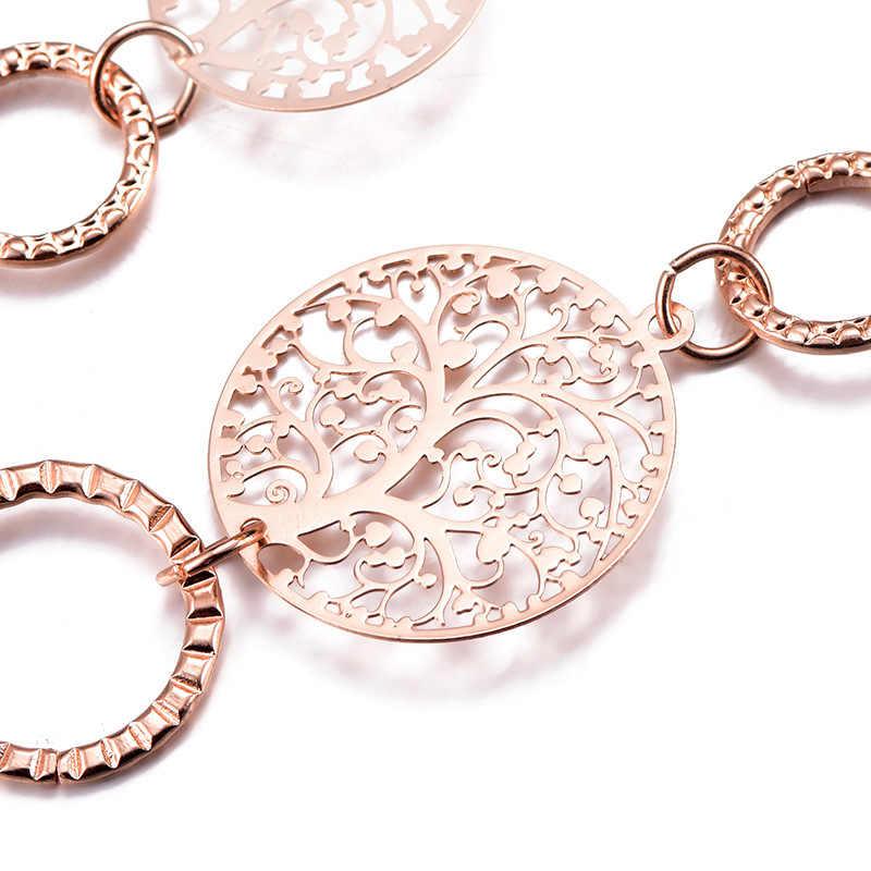 Rose Gold สีสร้อยคอยาวผู้หญิงแฟชั่นเครื่องประดับงานแต่งงานของขวัญ 2019 New Luxury Chain Hollow Tree Of Life สร้อยคอ
