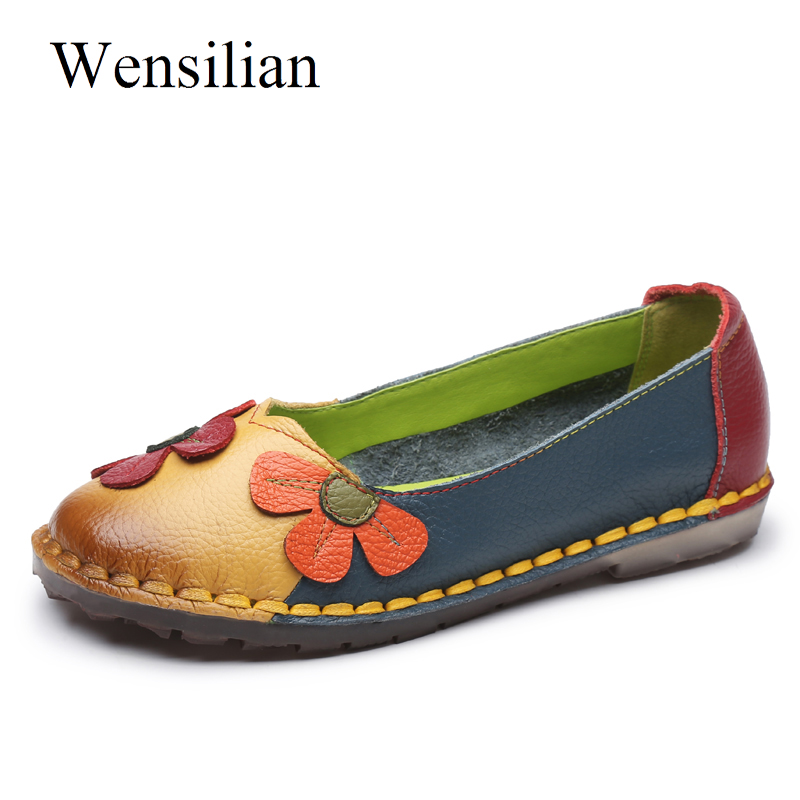 Summer Flat Shoes Women Genuine Leather Shoes Ballet Flats Soft Slip On Loafers Flower Ladies Moccasins Retro Cute Zapatos Mujer цена