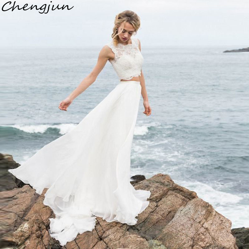 Chengjun Made In China Wholesales No Sleeve 2 Pieces Boho Wedding Gowns
