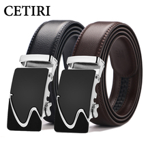 CETIRI Men's Fashion Genuine Cow Leather Belts For Men High Quality Metal Automatic Buckle Strap Male Jeans Cowboy Dropshipping