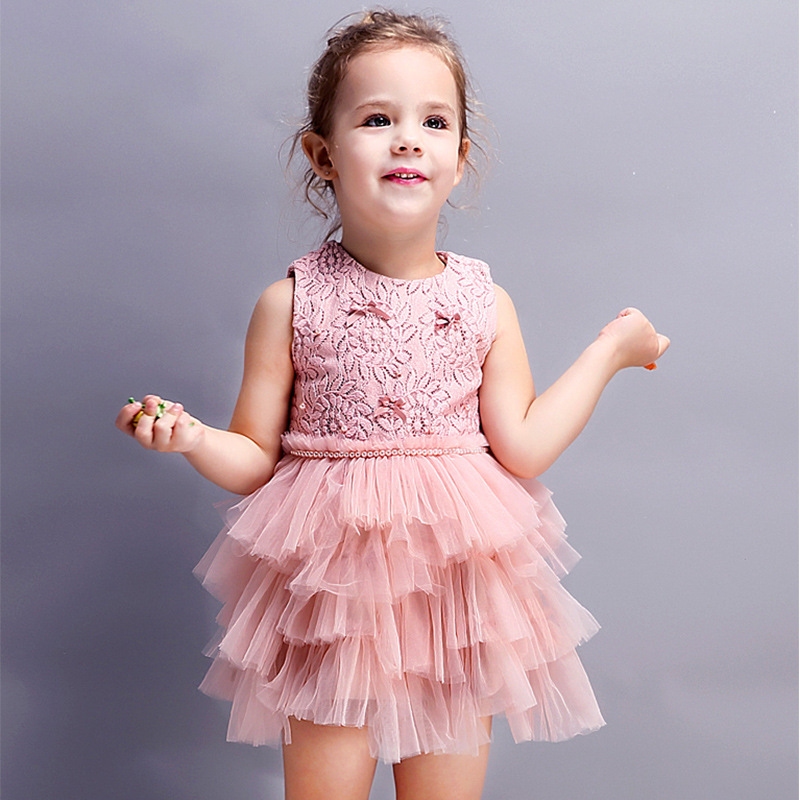 Baby girl Lace Cake Tutu dress Sleeveless mesh layered dress Pink Princess Dress for children Kids Wedding Dress with pearl belt