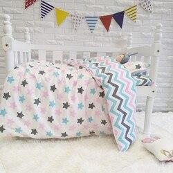 Gute Qualität Bunte Sterne Baby Bettwäsche Set Für Mädchen Reine Baumwolle Gewebt Cartoon Krippe Bettwäsche, duvet/Blatt/Kissen, mit füllung