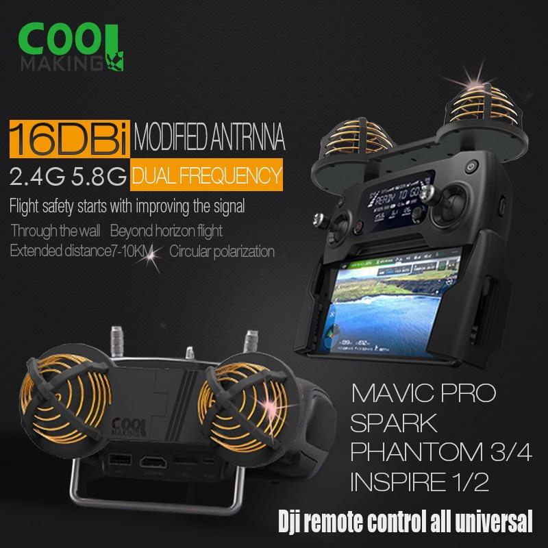 Répéteur Wifi d'extension de gamme de Signal d'antenne 16DBi pour DJI MAVIC PRO SPARK INSPIRE 1 2 PHANTOM 4 PRO 4 3