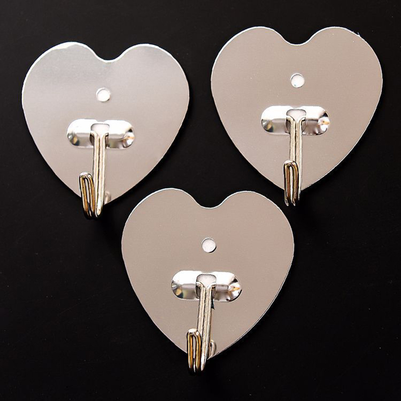 DINIWELL Adhesive Wall Door Hook Stainless Steel Holder Hanger Heart-shape Magic Paste Single Bathroom Kitchen Hanging Hooks