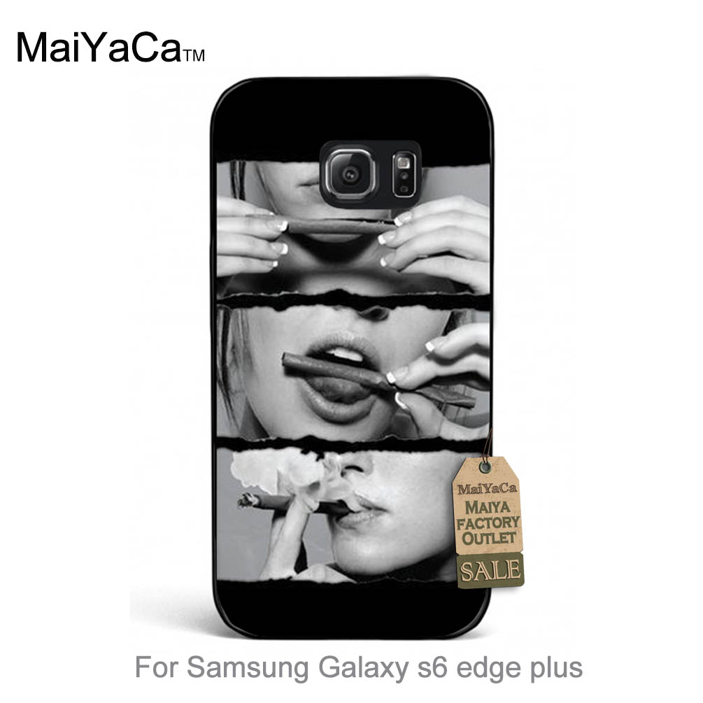 MaiYaCa Cute <font><b>phone</b></font> Accessories Classic Retro Design Style Sexy Lady <font><b>Cigarette</b></font> Smoking For Samsung Galaxy s6 edge Plus