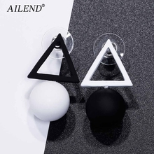 AILEND Triangle Different Candy Color Earrings For Women 2017 Fashion Stud Earrings From Korean Earings Jewelry