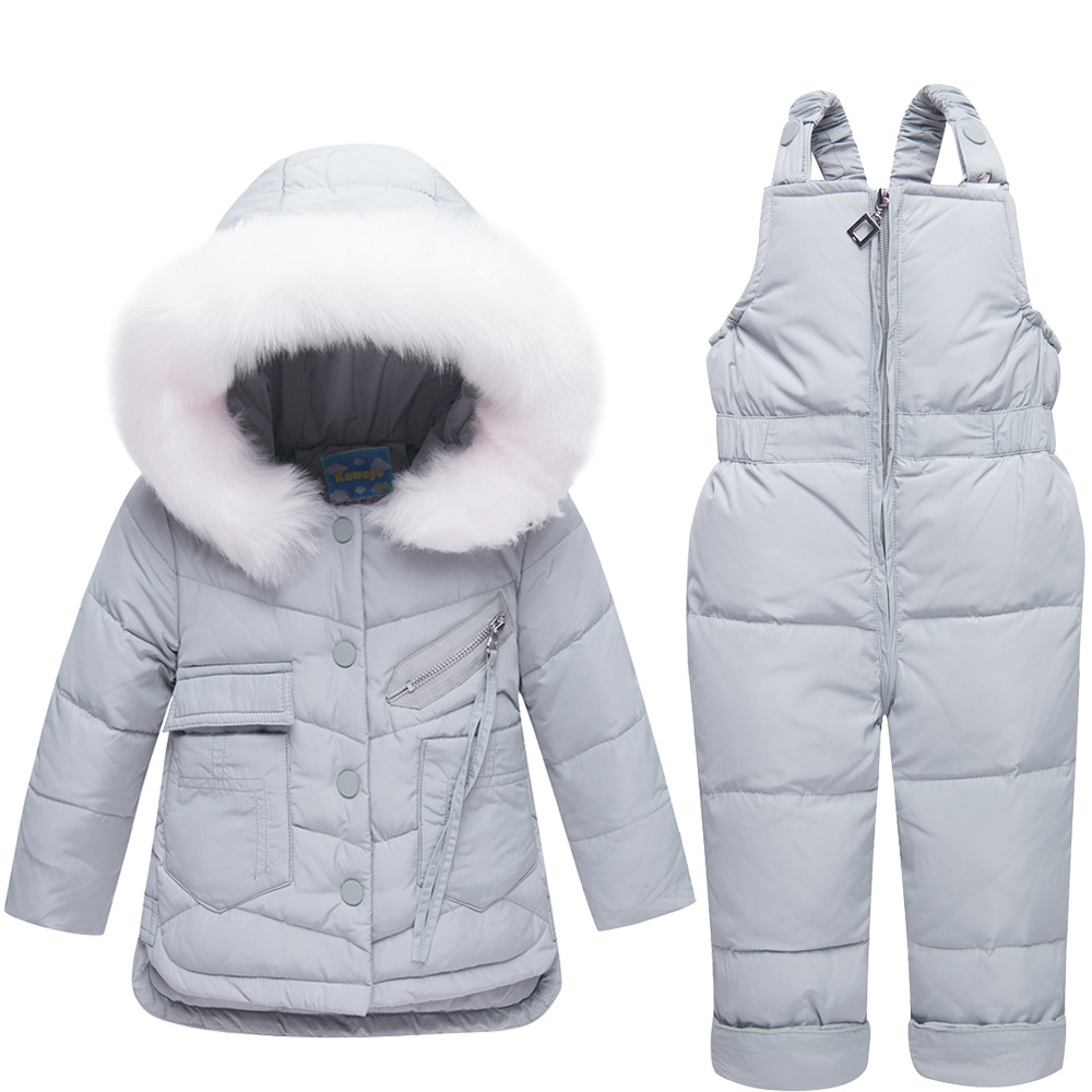 2018 Newborn Winter Jackets Hoodies Duck Down Ski Suit For Girl Toddler Girls Outfits Snow Wear Jumpsuit Sets Coat Snowsuit
