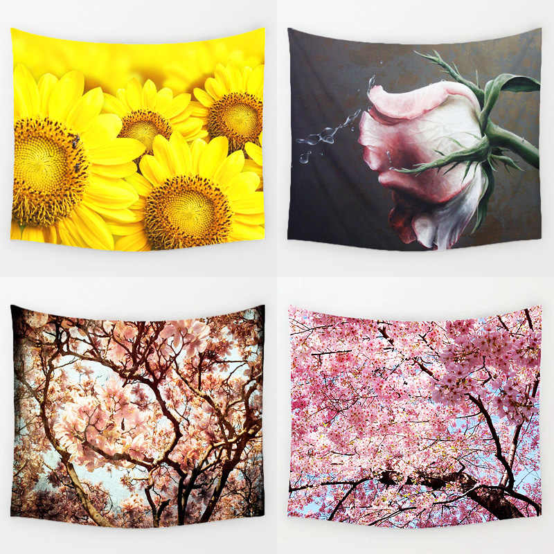 Comwarm Beautiful Flower Scenery Wall Hanging Gobelin Mural Rug Sunflowers Cherry Blossoms Printed Tapestry Bedroom Decor Art