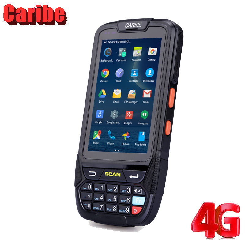 Caribe PL-40L Scanner Handheld Infrared 1D Barcode Reader Android Touch Screen Rugged PDA 125K RFID caribe pl 40lab061 rugged 4000 mah duad core wireless handheld 1d barcode scanner android with display