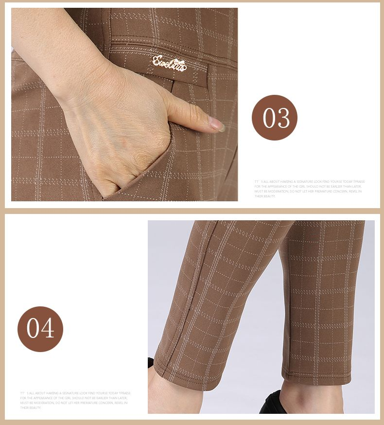 Spring Autumn Woman Casual Pant Navy Blue Black Khaki Gray Trousers Middle Aged Women Plaid Pattern Pants High Waist Trousers Mother Bottoms (1)