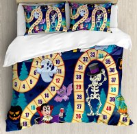 Board Game Duvet Cover Set Halloween Theme Symbols Happy Witch Girl Vampire Ghost Pumpkins Happy Comic 4 Piece Bedding Set
