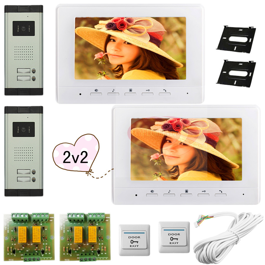2 Doors 2 Buttons For 2 Apartments Color 7 HD 700lines CCD Camera Video DoorPhone Intercom Support Weatherproof/Night Vision