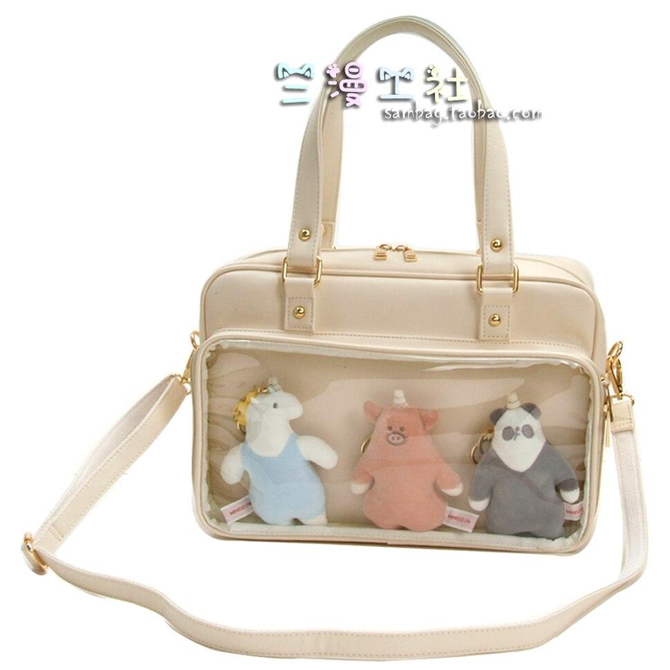 Harajuku japonais Lolita Transparent JK uniforme Itabag Double face sac à bandoulière sac à main Cosplay étudiant Messenger sac 4 couleurs
